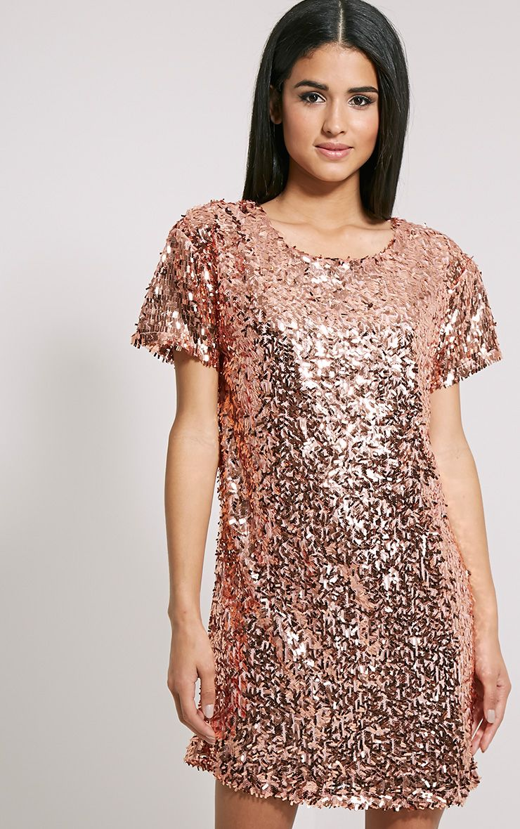 Hilma Rose Gold Sequin Shift Dress 1