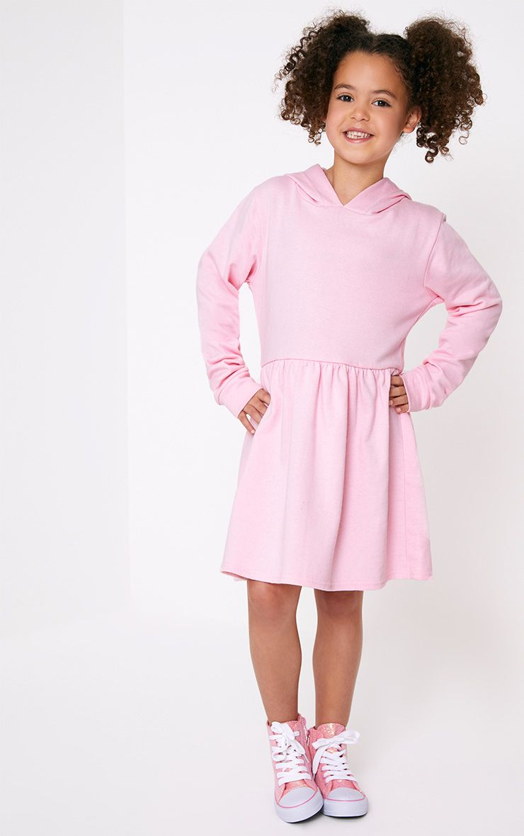 Pink Hooded Skater Dress