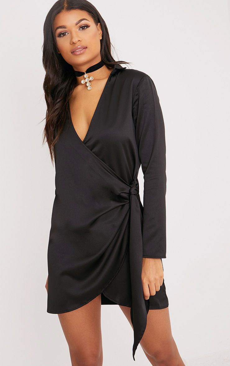 Shaylene Black Tie Side Satin Shirt Dress