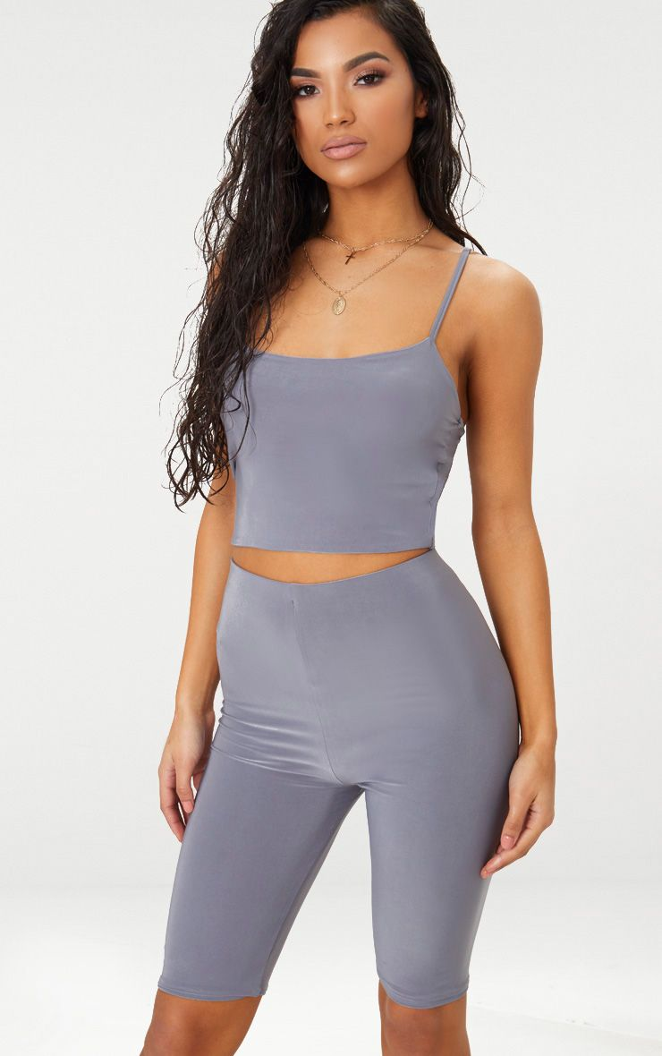 Grey Slinky Cami Crop Top
