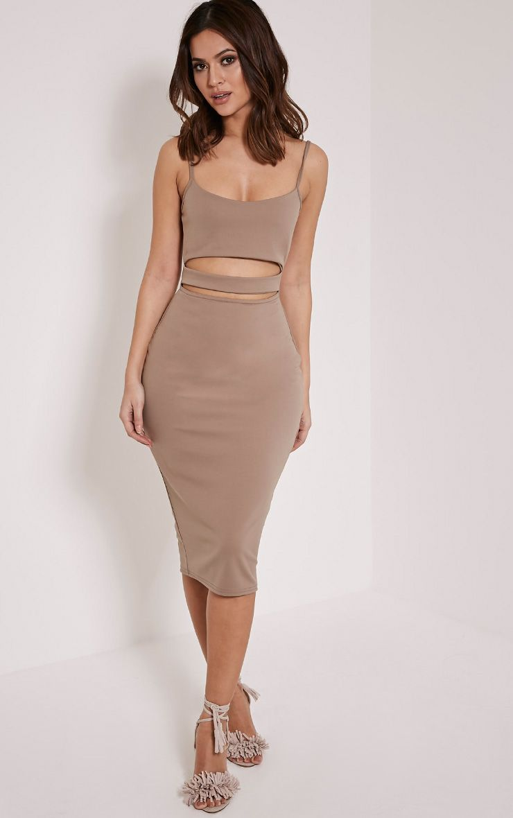Petite Kheelie Taupe Cut Out Midi Dress 1