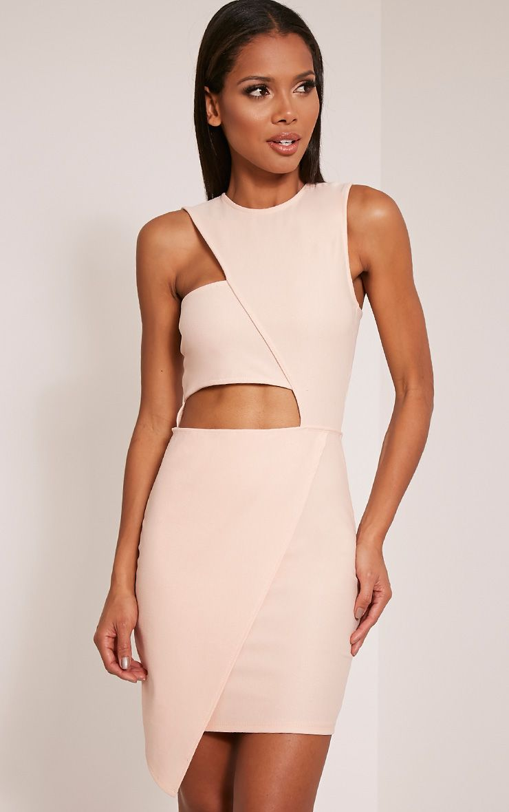 Tamra Nude Cut Out Wrap Bodycon Dress