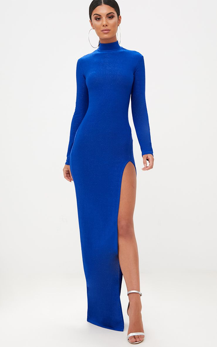 Cobalt Blue High Neck Glitter Side Split Maxi Dress