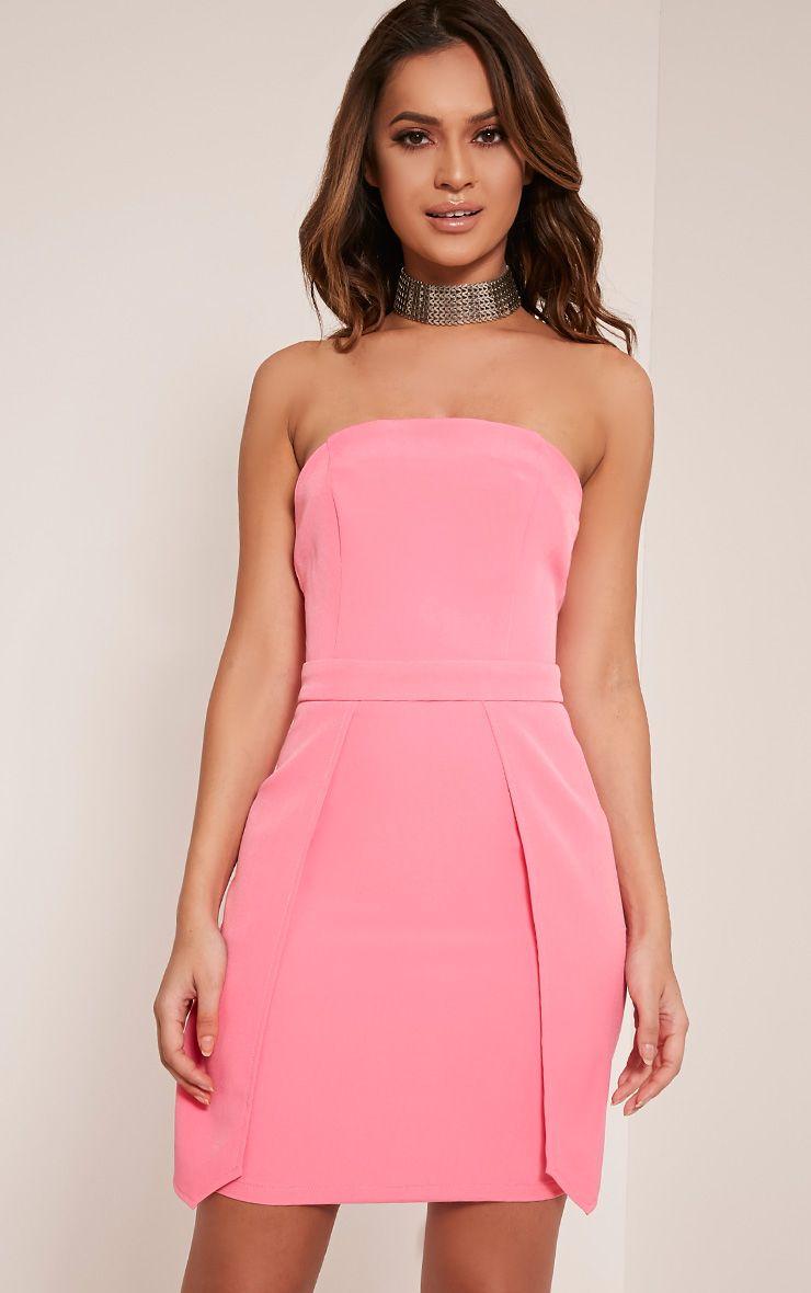 Jonna Bubblegum Pink Crepe Bandeau Mini Dress