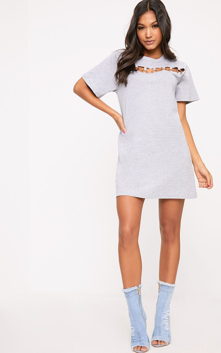 Grey Jersey Ring Chest Detail T Shirt Dress  1