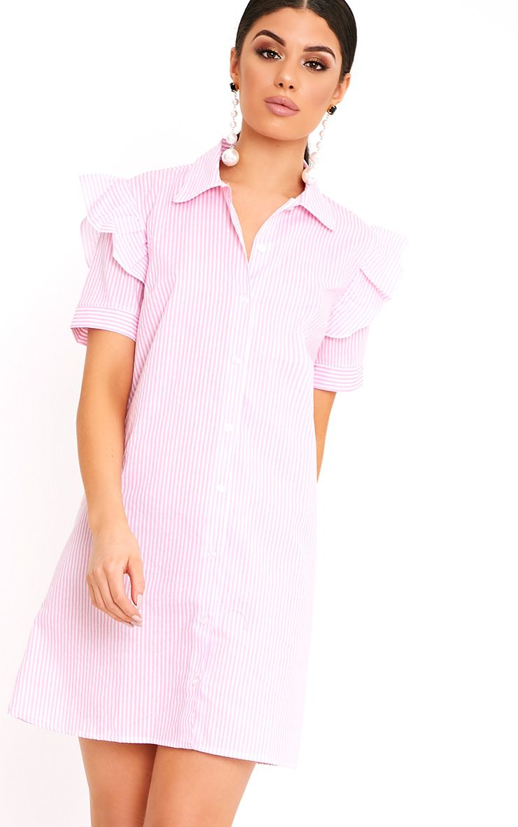 Wendayar Pink Stripes Frill Short Sleeve Shirt Dress