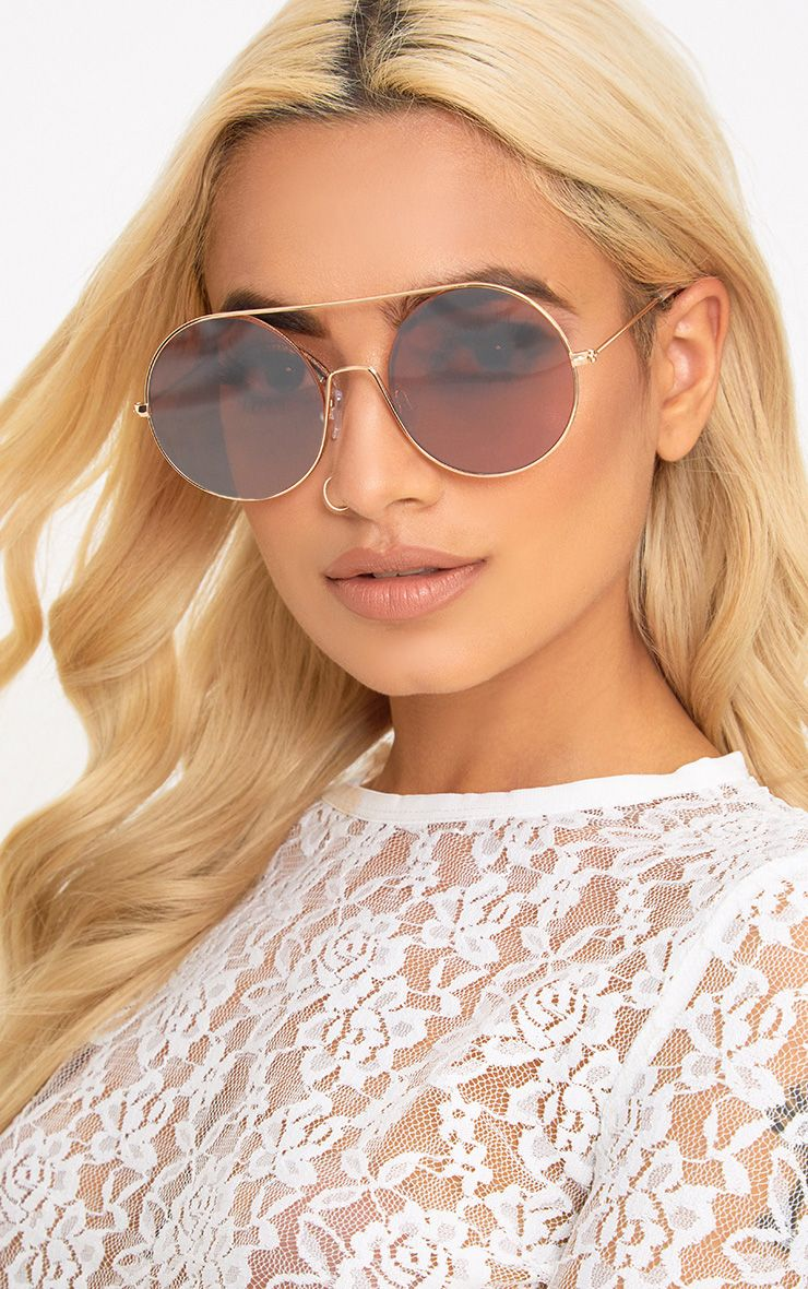 Anca Rose Gold Round Frame Sunglasses