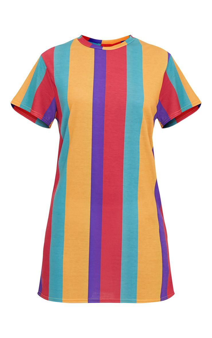 Multi Striped T Shirt Dress PrettyLittleThing