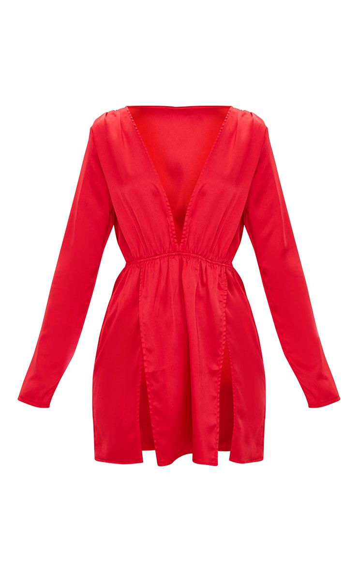 robe moulante fendue en satin rouge robes. Black Bedroom Furniture Sets. Home Design Ideas