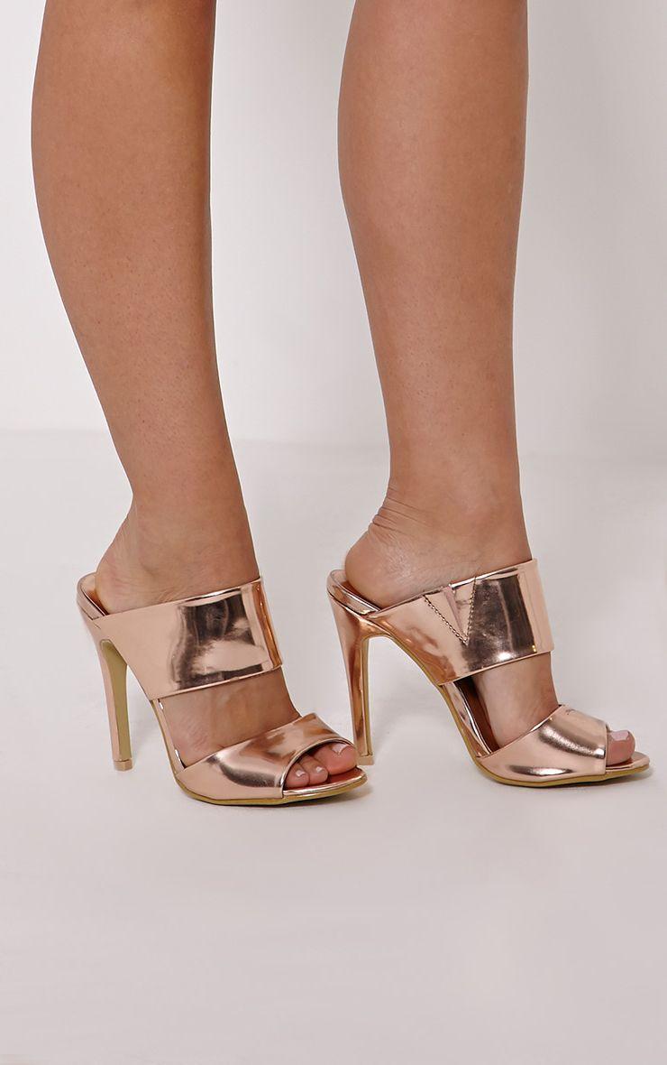 Evageline Gold Slip On Mule Sandal 1