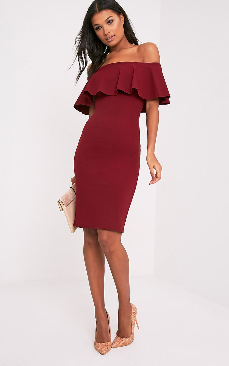 Celinea Burgundy Bardot Frill Midi Dress
