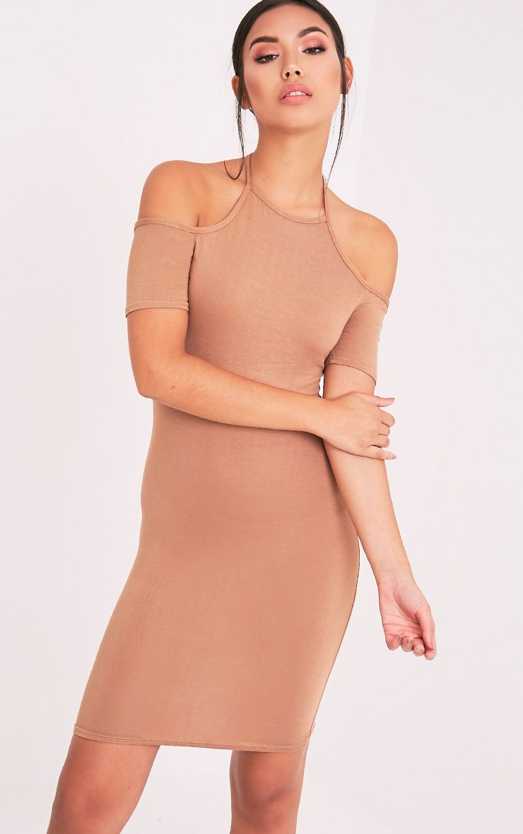 Amara Camel Tie Neck Cold Shoulder Bodycon Dress