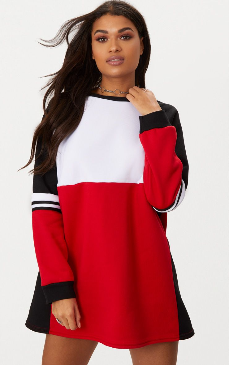 Red Colour block Sweater Dress
