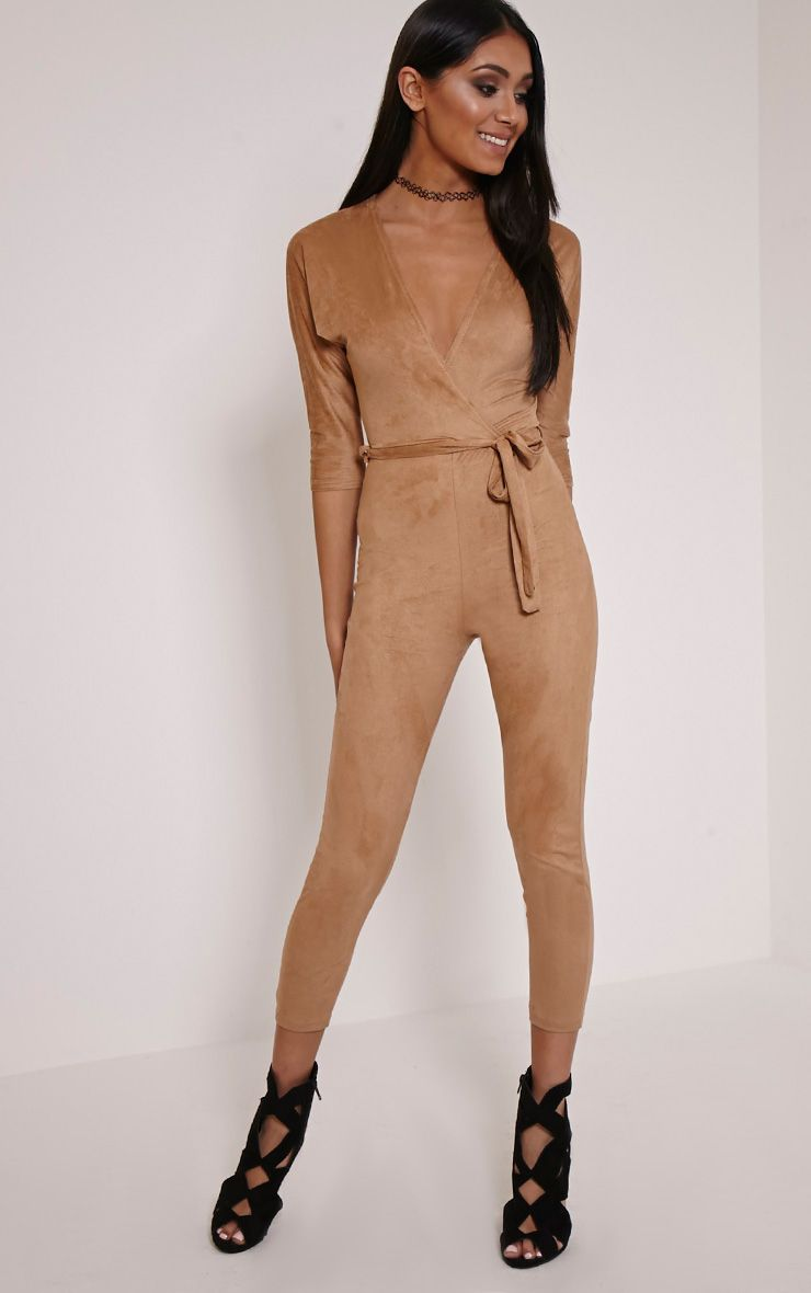 Maira Tan Suede Wrap Jumpsuit 1