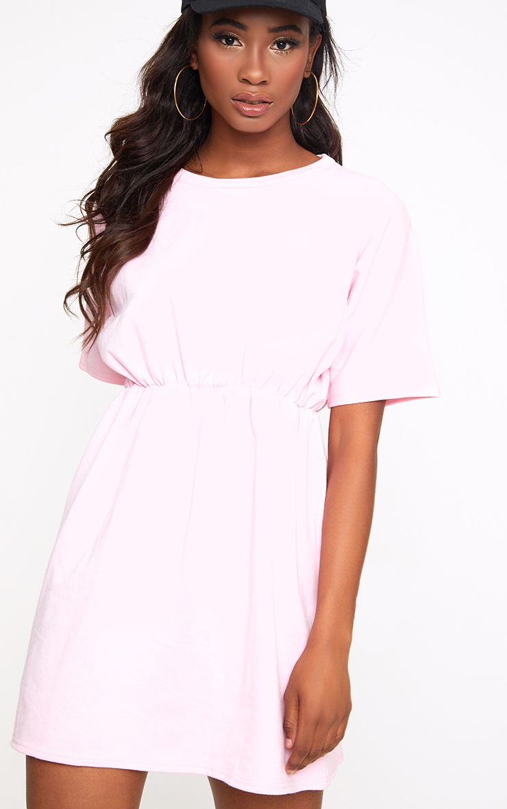 Baby Pink Loop Back Waist Detail Sweater Dress