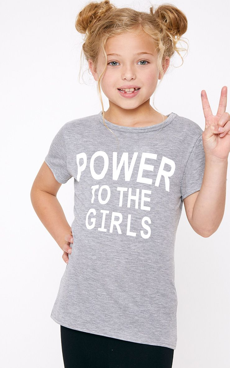 Power To The Girls Grey Marl T Shirt