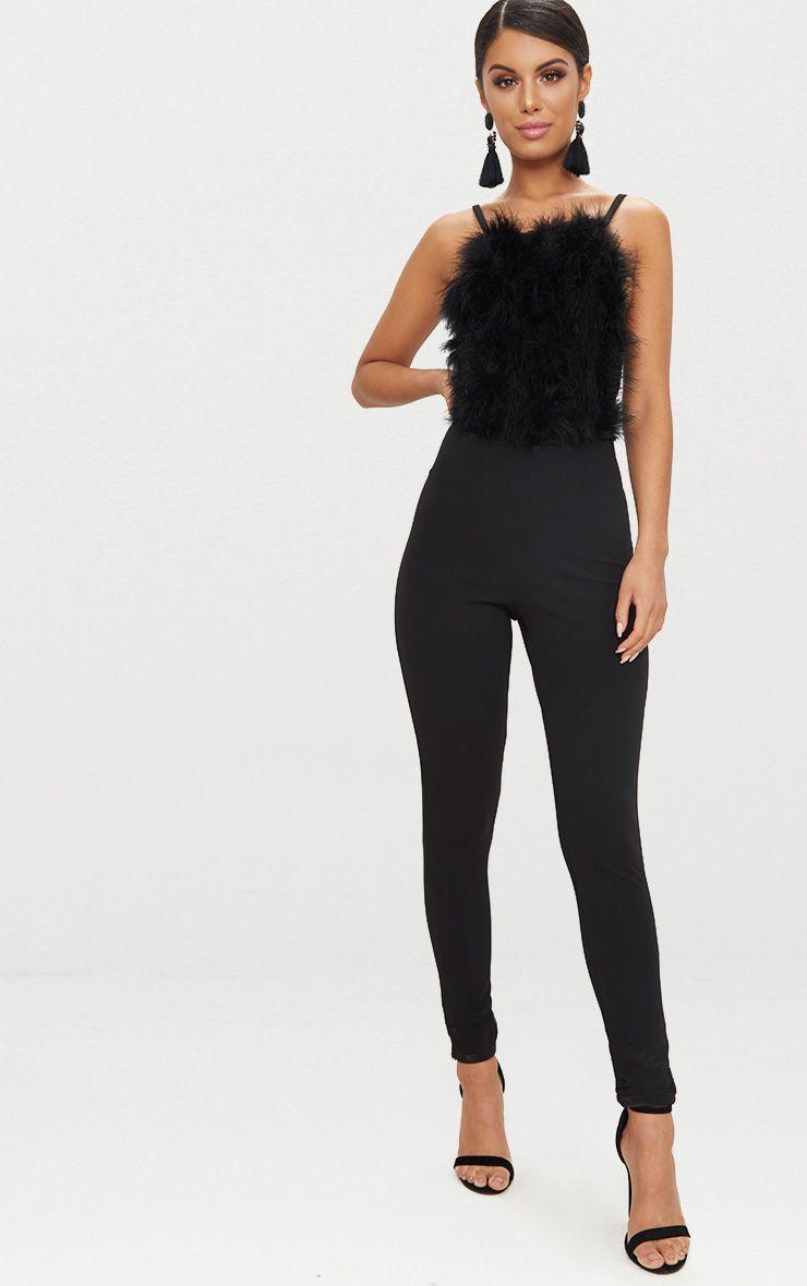 Black Feather Front Jumpsuit
