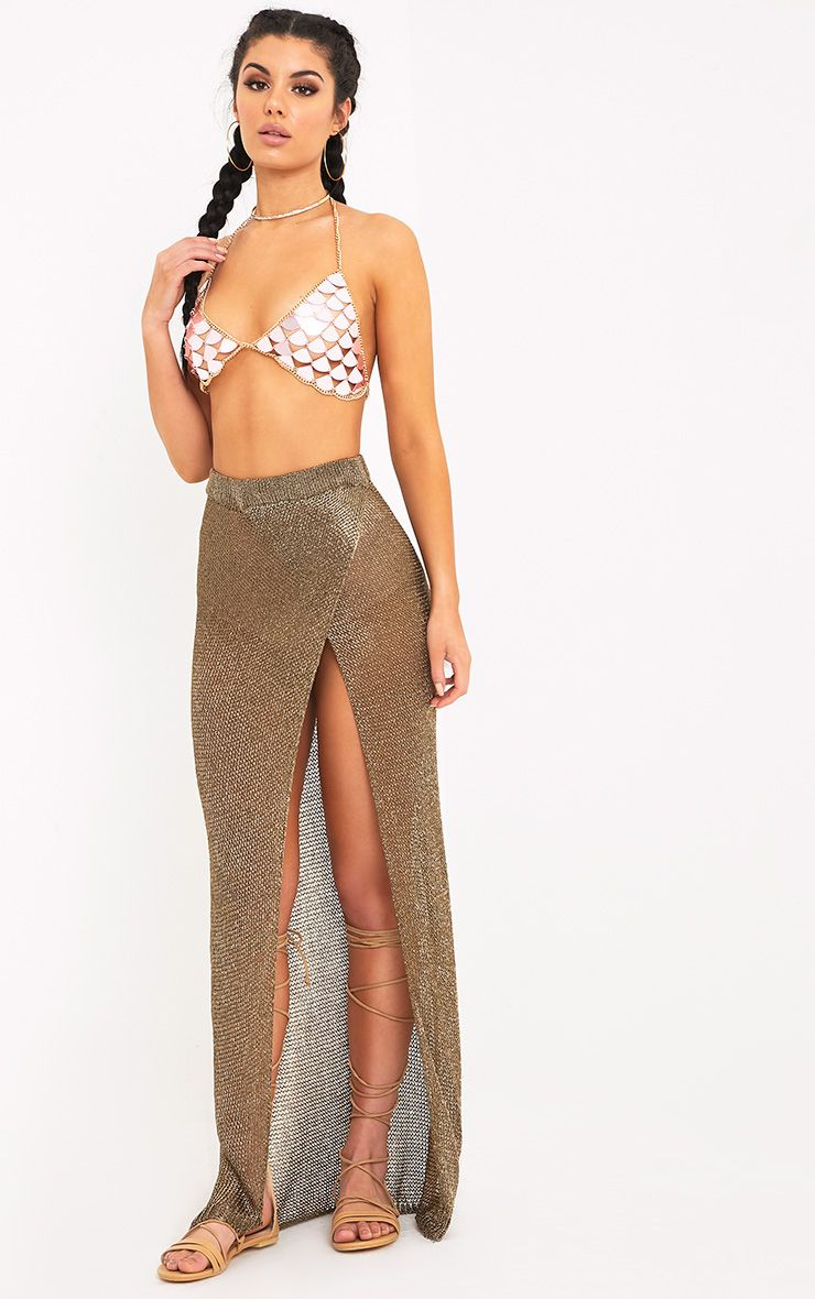 Fefe Gold Metallic Knit Wrap Maxi Skirt