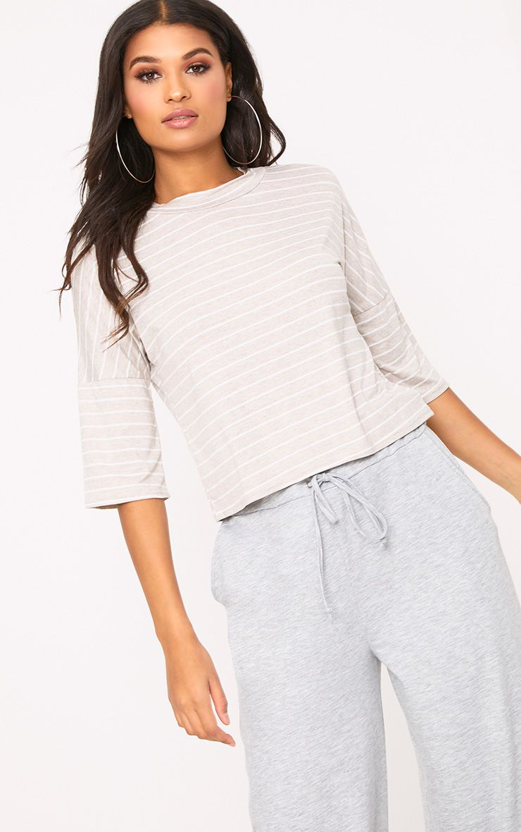 Oatmeal Stripe Oversized T Shirt