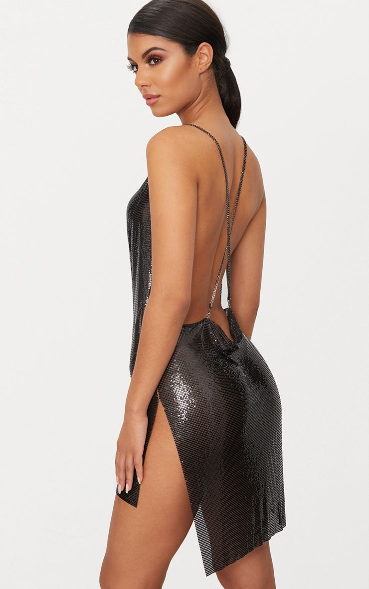Black Chainmail Diamante Strap Dress 1