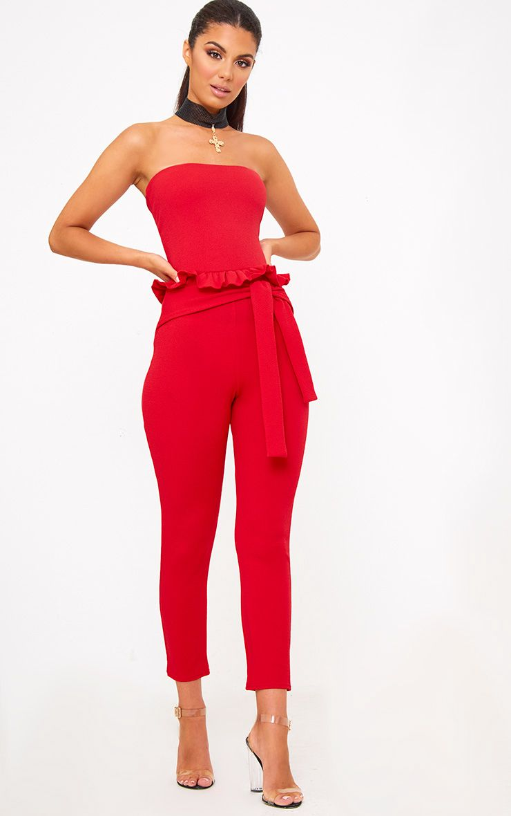 Red Frill Tie Waist Jumpsuit