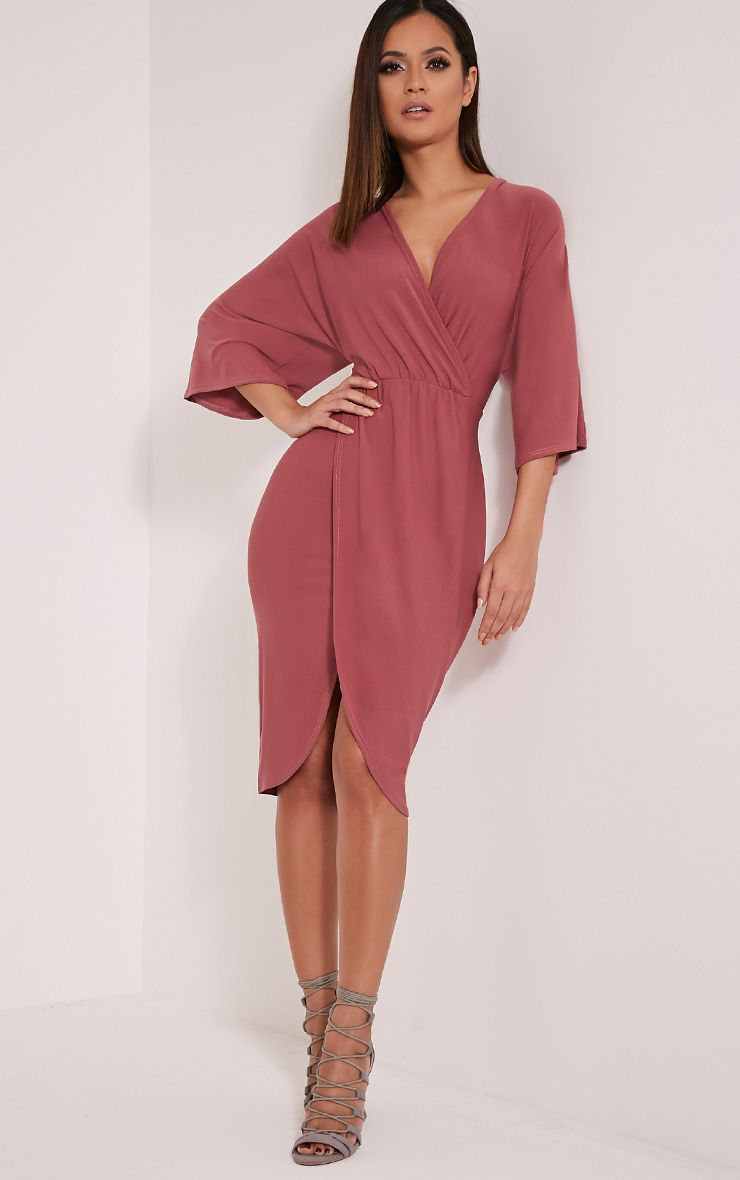 Archer Rose Cape Midi Dress