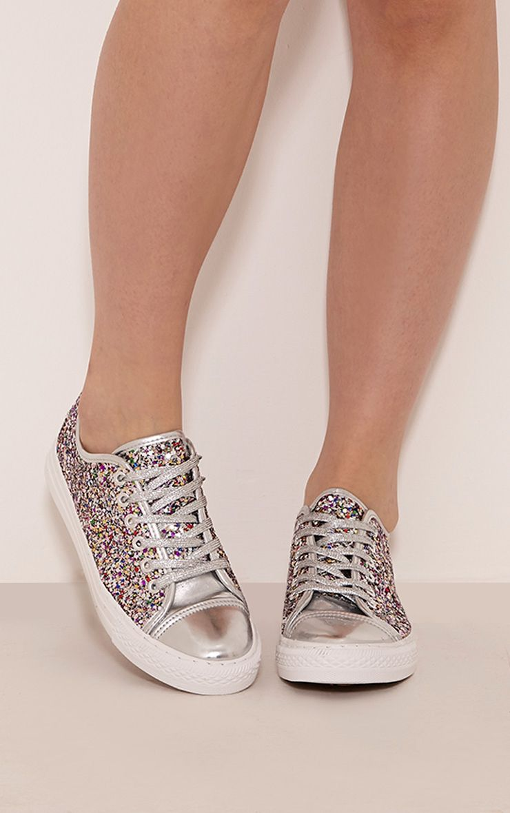 Jayla Silver Glitter Lace Up Trainers 1