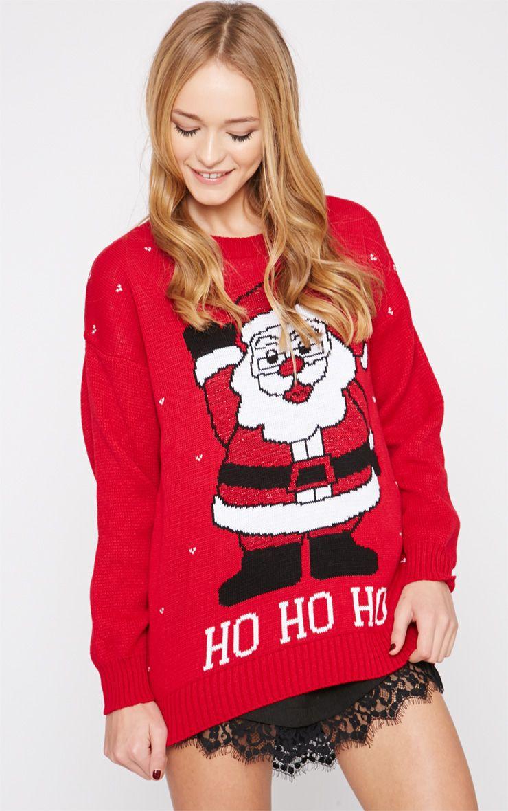 Gennie Red Glitter Santa Christmas Jumper  1