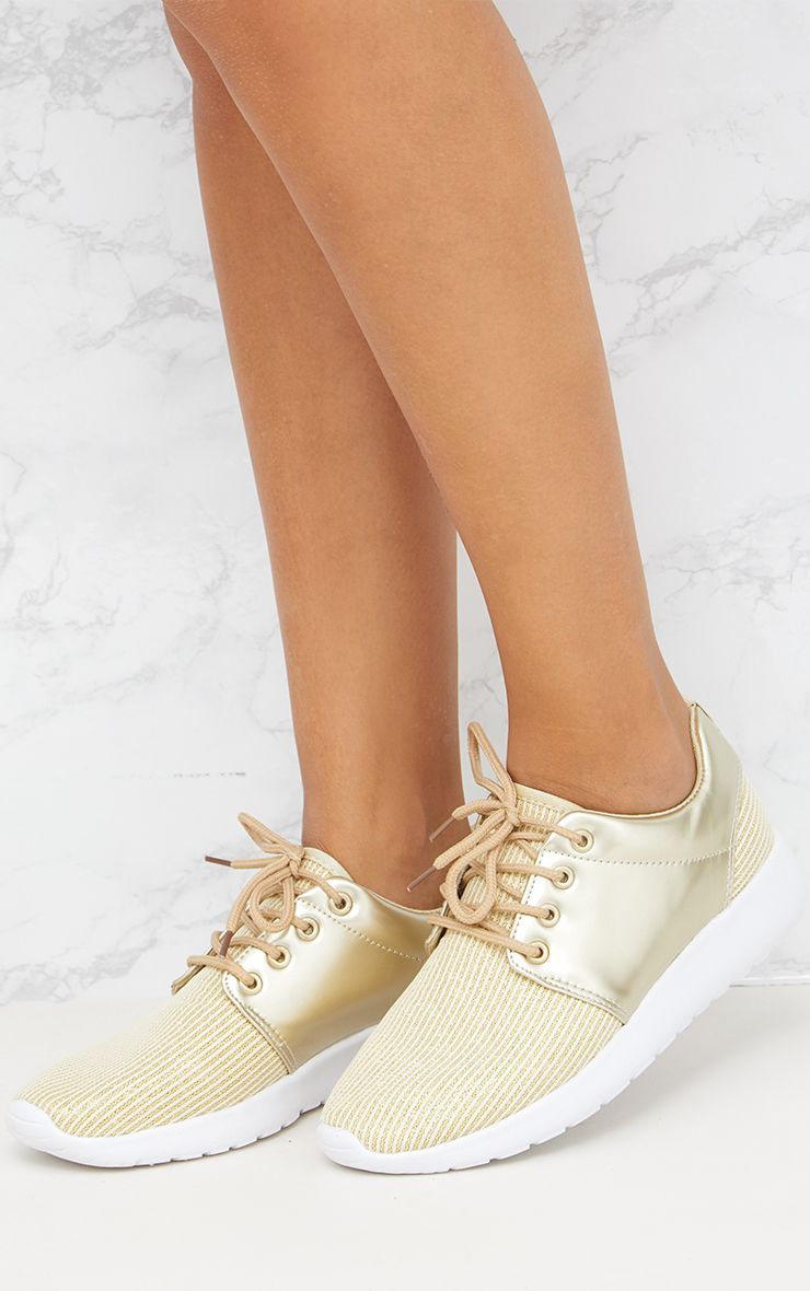Gold Metallic Ribbed Trainers