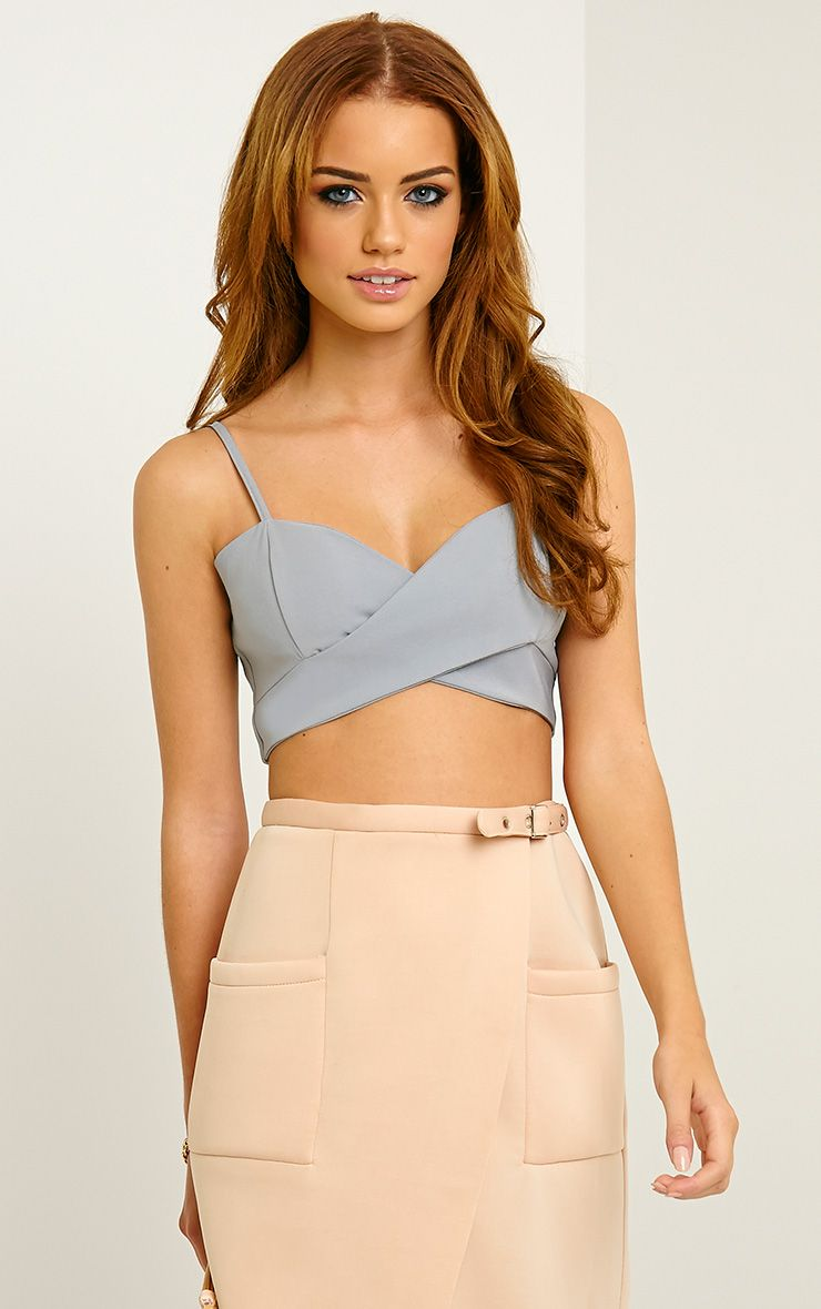 Lottie Grey Crepe Wrap Bralet