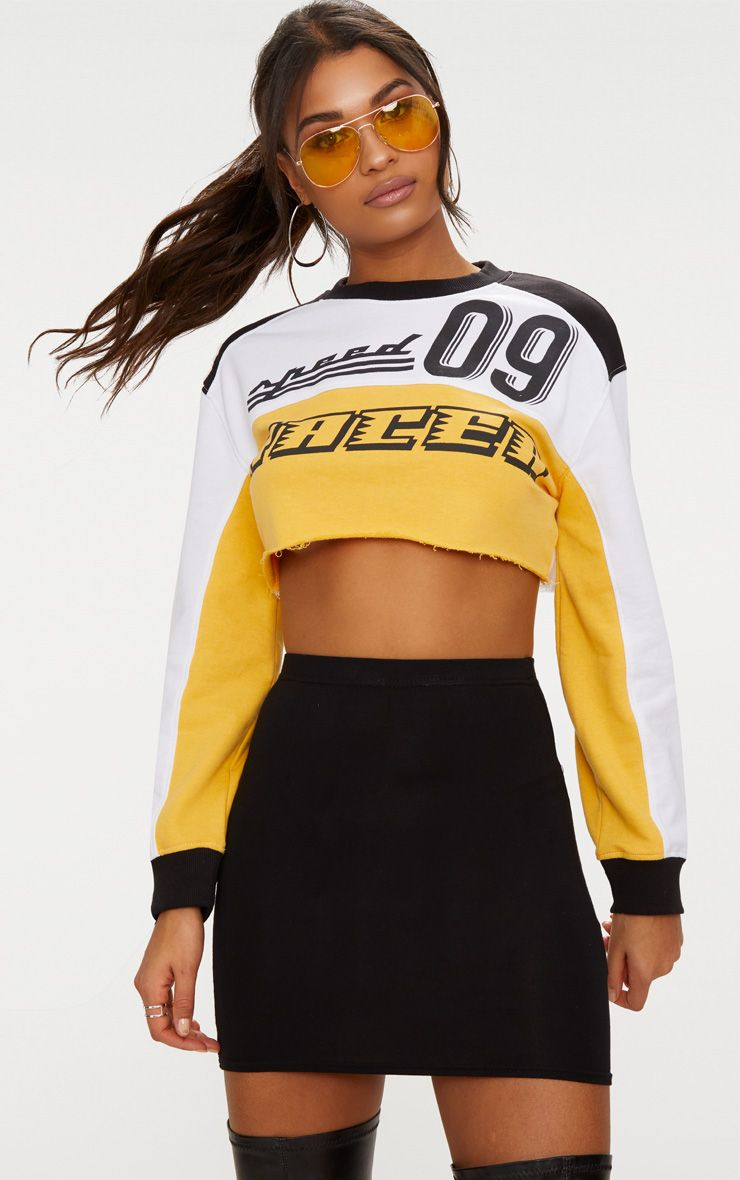 White Racer Slogan Colourblock Extreme Cropped Sweater