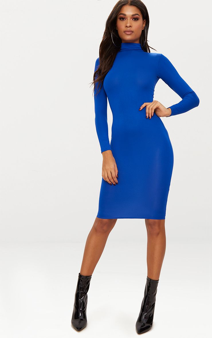 Basic Cobalt Roll Neck Midi Dress