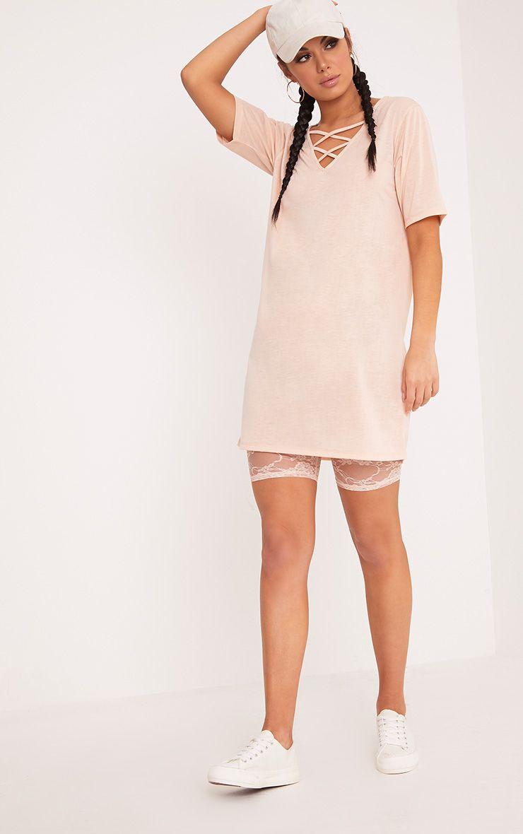 Sinders Nude Jersey Cross Front Oversized T shirt Dress