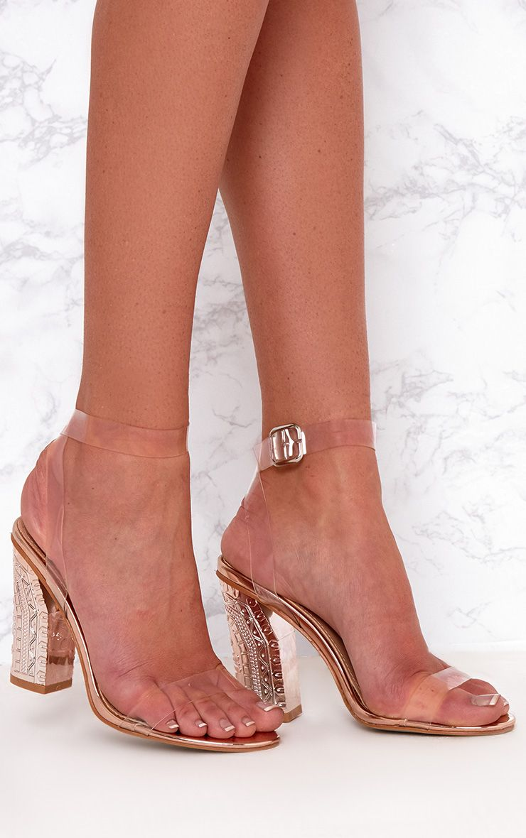 Rose Gold Clear Strap Ornate Heels