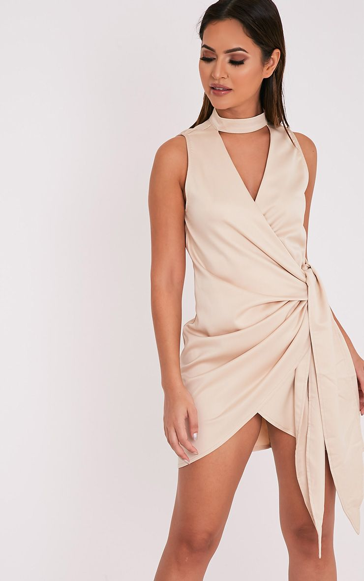 Rebecca Champagne Choker Detail Satin Tie Waist Dress