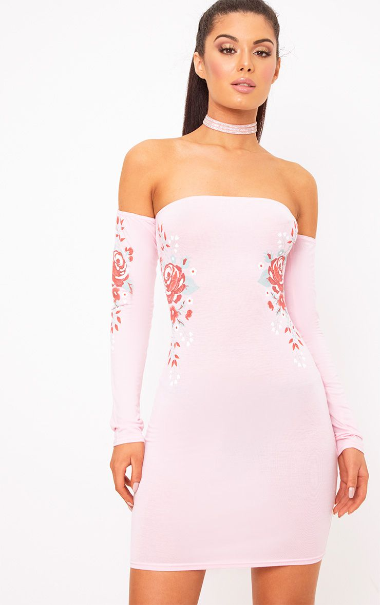 Baby Pink Bardot Printed Bodycon Dress