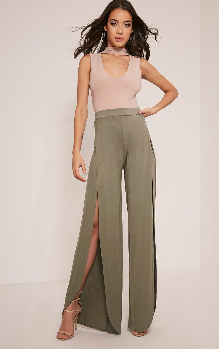 Mona Khaki Split Jersey Trousers