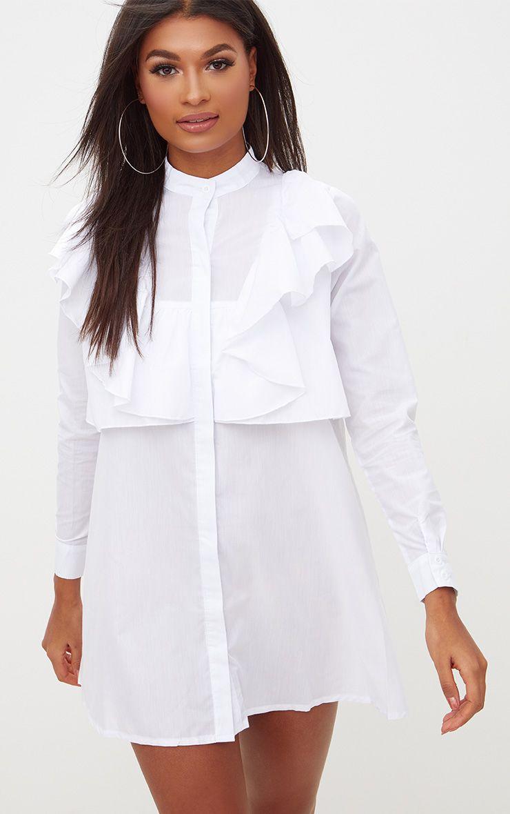 Flora White Frill Front Shirt Dress