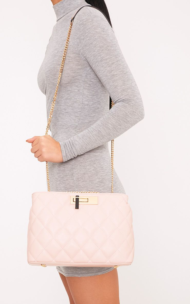 Eriki Baby Pink Padded Twist Lock Bag