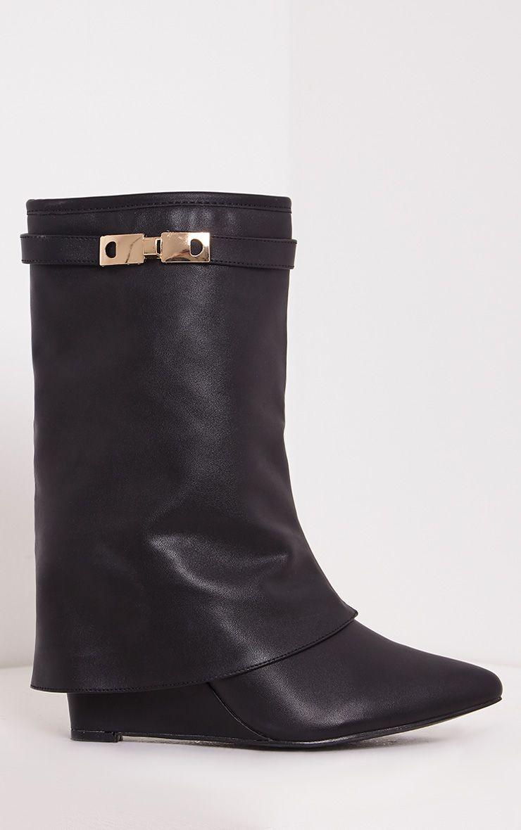 Daniela Black PU Concealed Heel Ankle Boots 1