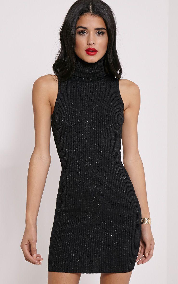 Tanya Black High Neck Metallic Knitted Dress 1