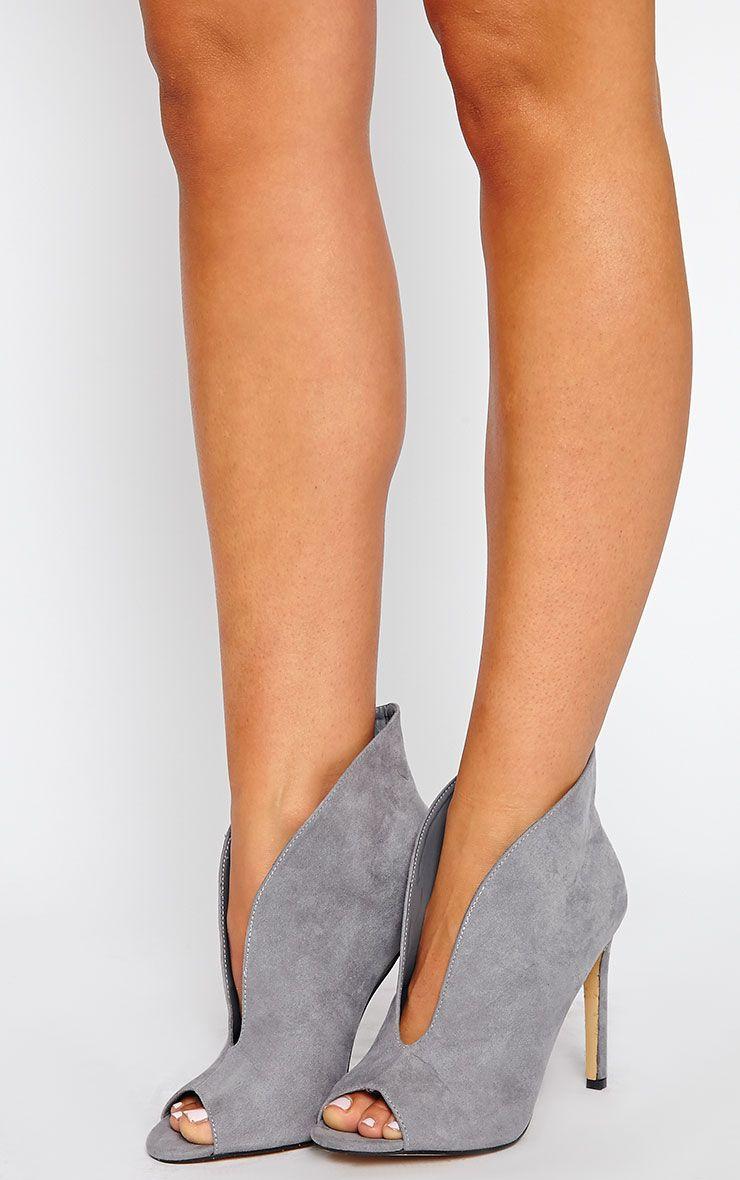 Jazmina Grey Open Front Heels 1