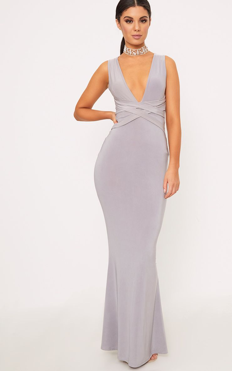 Grey Maci Double Wrap Slinky Maxi Dress