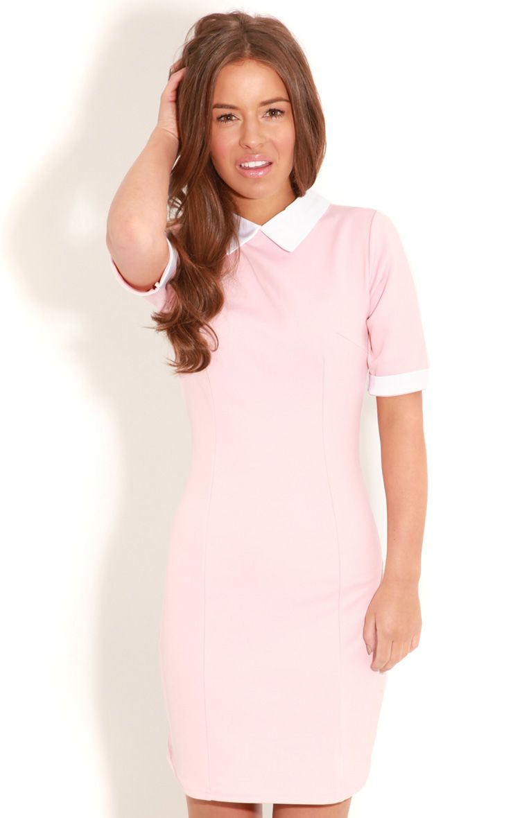 Eileen Pink Tailored Collar Dress 1