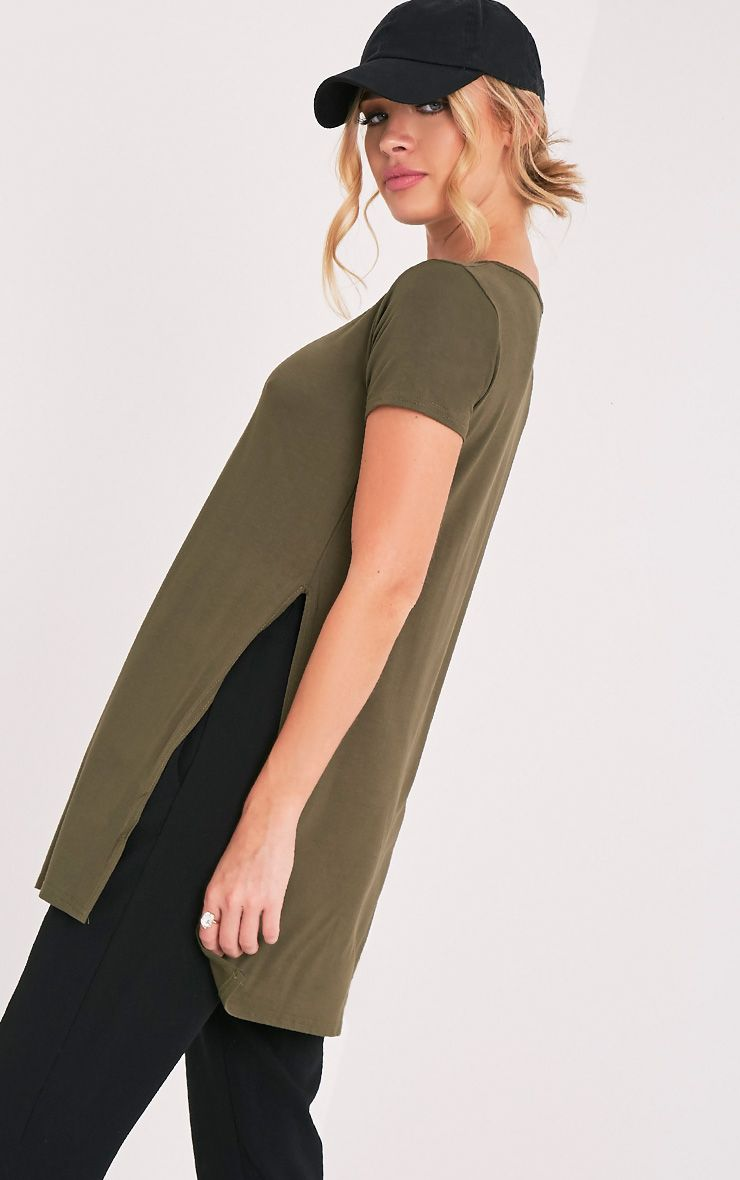 Basic Khaki Side Split T Shirt