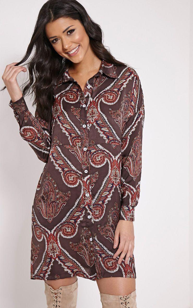 Hazelle Brown Paisley Shirt Dress 1