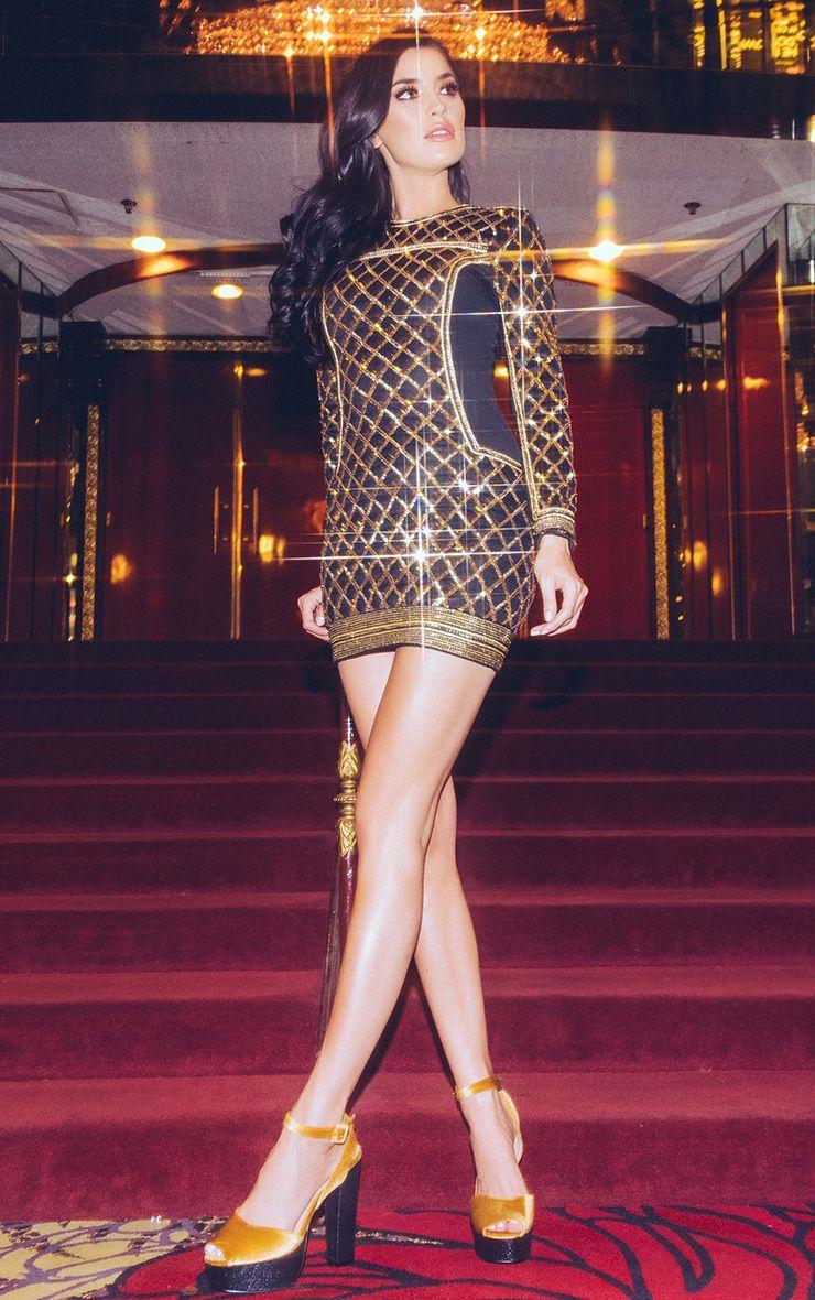 Mylah Black Premium Sequin Panelled Bodycon Dress