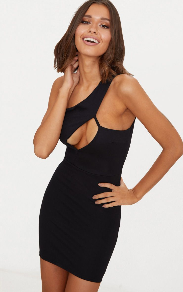 Black One Shoulder Cut Out Detail Bodycon Dress