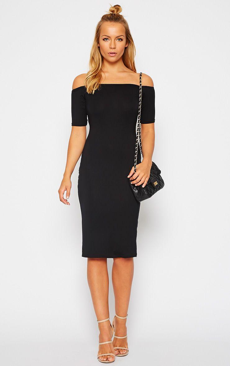 Caty Black Jersey Bardot Midi Dress 1