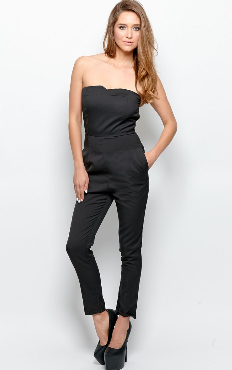 Tia Black Strapless Jumpsuit With Reverse White Bow Detail 1
